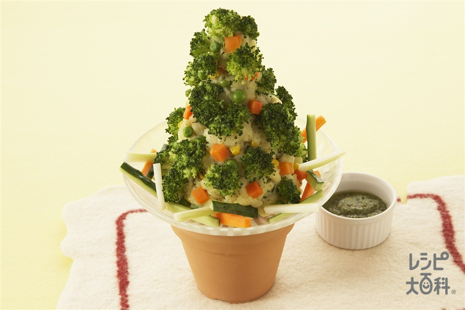 クリスマスツリーのポテトサラダ(じゃがいも+にんじんを使ったレシピ)