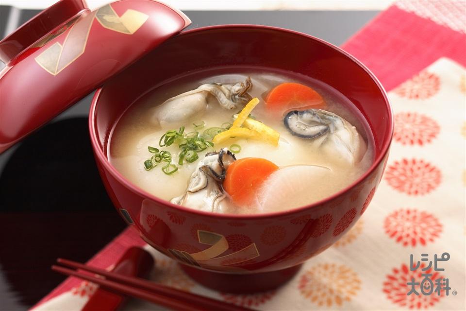 広島のお雑煮(丸餅+かき(むき身)を使ったレシピ)