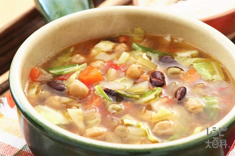豆のミネストローネ(ミックスビーンズ缶+玉ねぎを使ったレシピ)