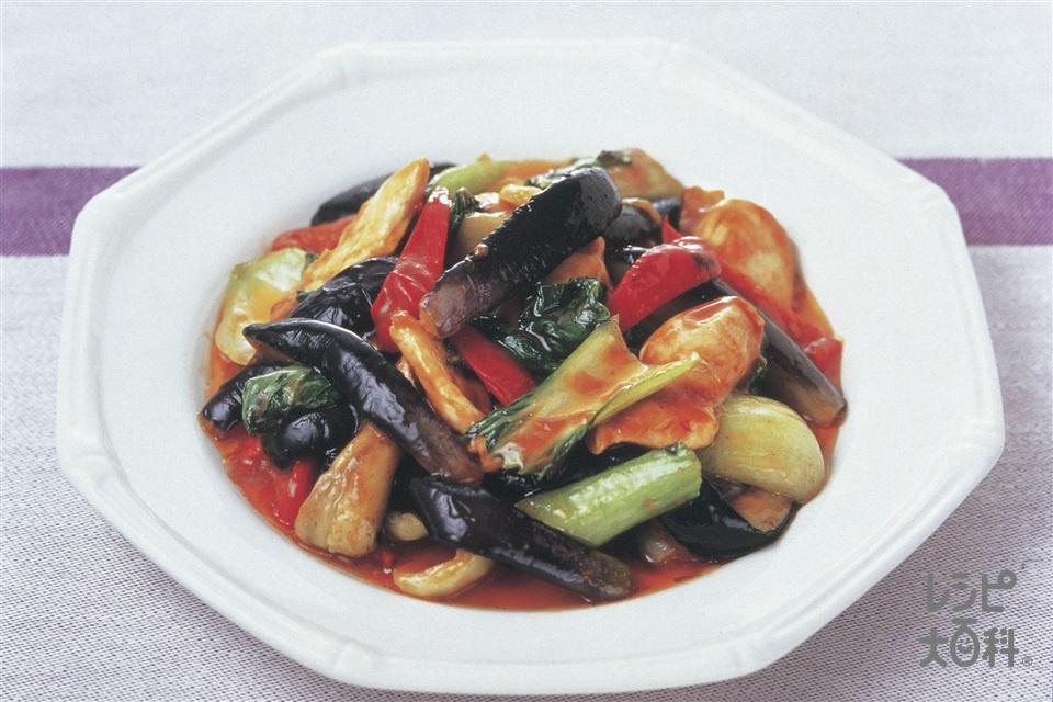 鶏肉とチンゲン菜のヘルシー麻婆茄子(鶏むね肉+A酒を使ったレシピ)