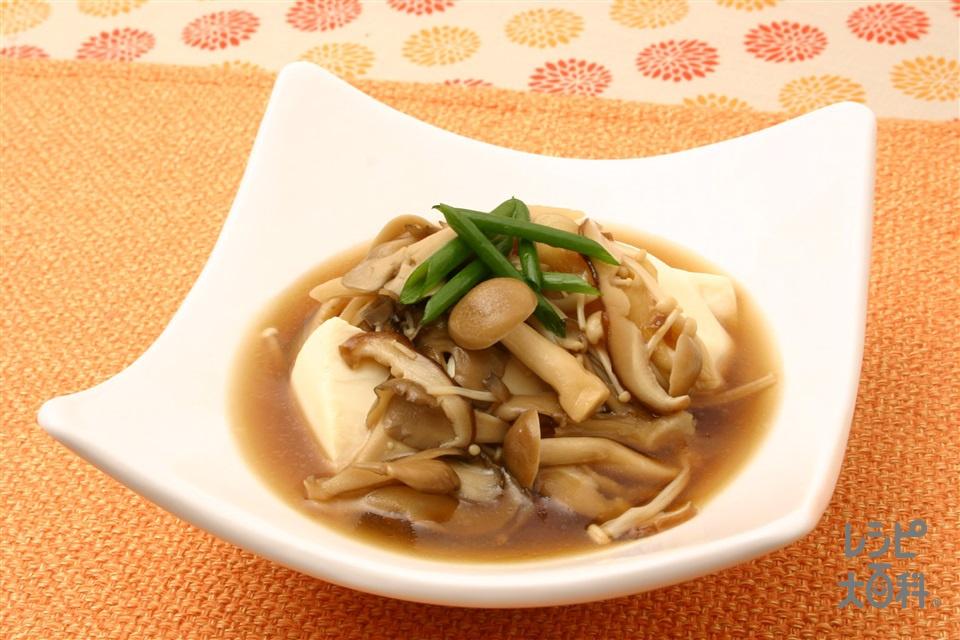 きのこのあんかけ豆腐(絹ごし豆腐+しめじを使ったレシピ)