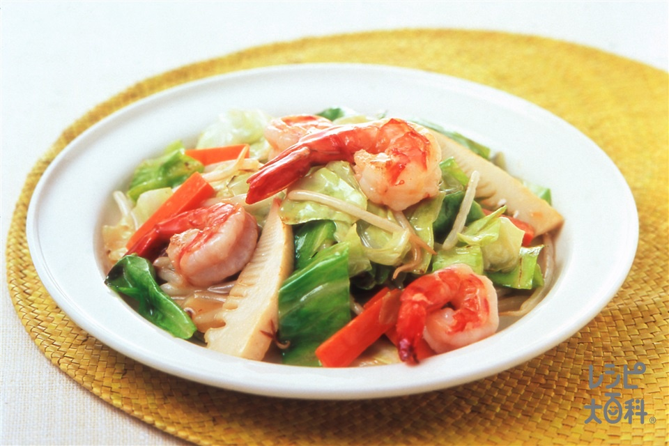 キャベツの八宝菜風(えび+キャベツを使ったレシピ)