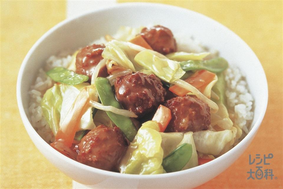 キャベツと肉だんごの中華丼(ご飯+キャベツを使ったレシピ)