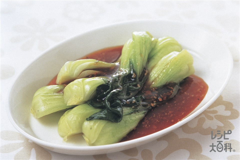 チンゲン菜のオイスターソースがけ(チンゲン菜+にんにくを使ったレシピ)