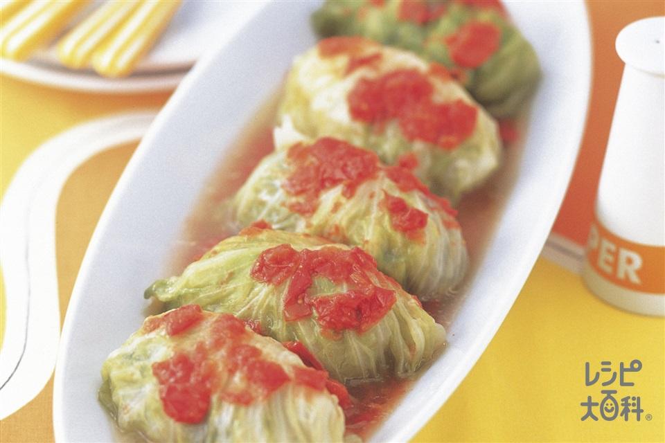 彩りロールキャベツ(キャベツ+合いびき肉を使ったレシピ)