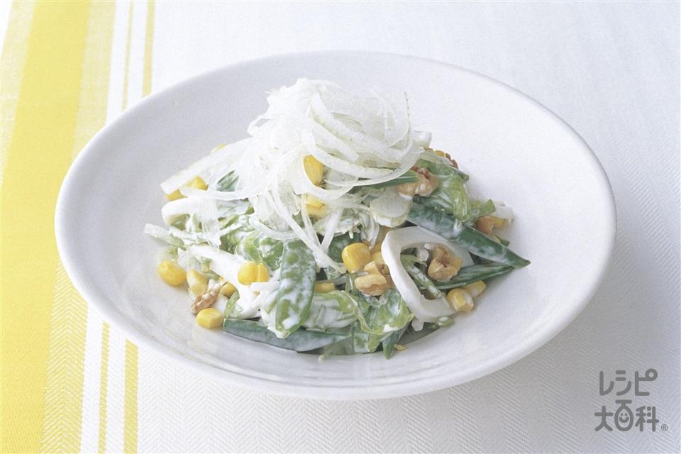 新玉ねぎと10品目のグリーンサラダ(新玉ねぎ+スナップえんどうを使ったレシピ)