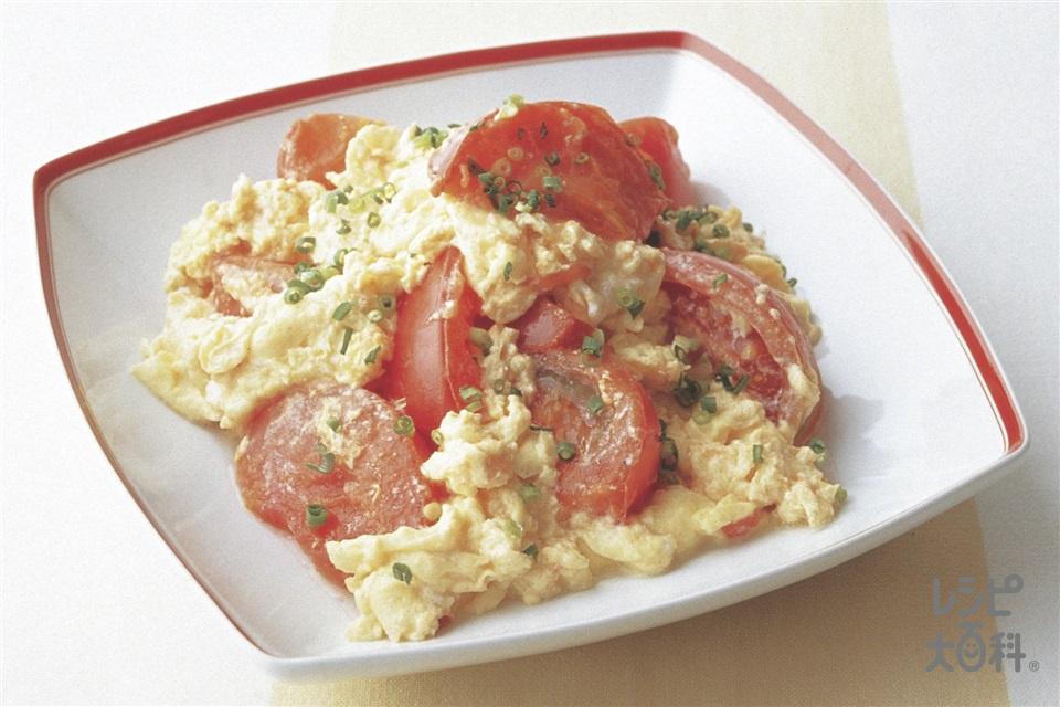 トマトと卵のふんわり炒め(卵+「ピュアセレクト マヨネーズ」を使ったレシピ)