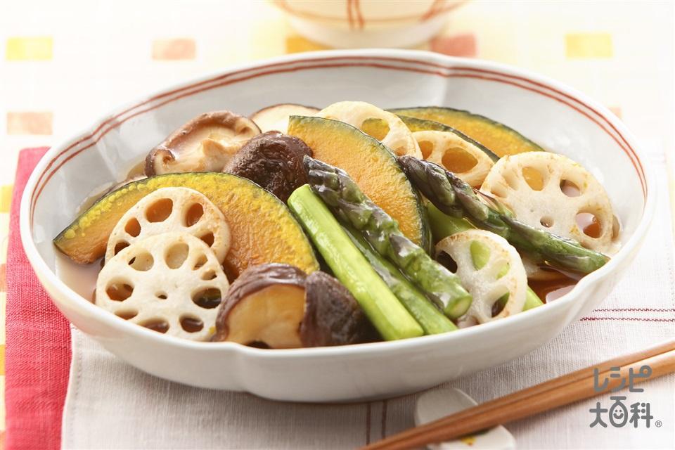 焼き野菜のだしびたし(れんこん+かぼちゃを使ったレシピ)