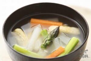 アスパラと根菜のすまし汁