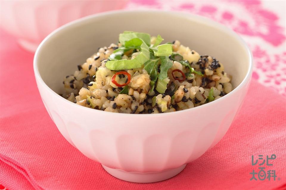 きのことセロリとごまの玄米ご飯