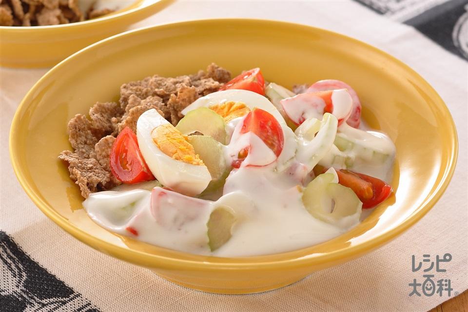 ブランフレークのベジタブルサラダ(「ケロッグ ブランフレーク・プレーン」+ゆで卵を使ったレシピ)