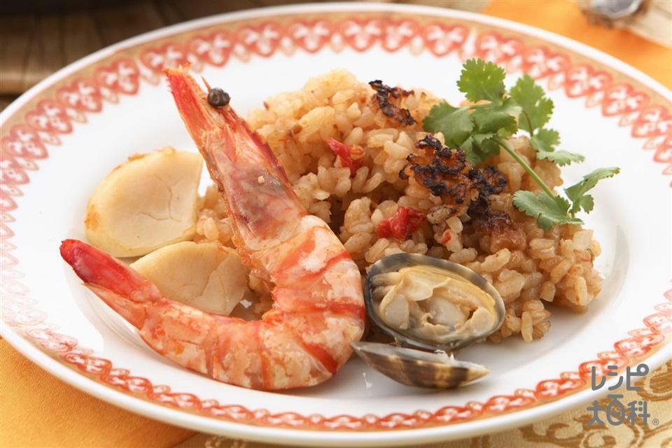 簡単海鮮パエリア(帆立貝柱+米を使ったレシピ)
