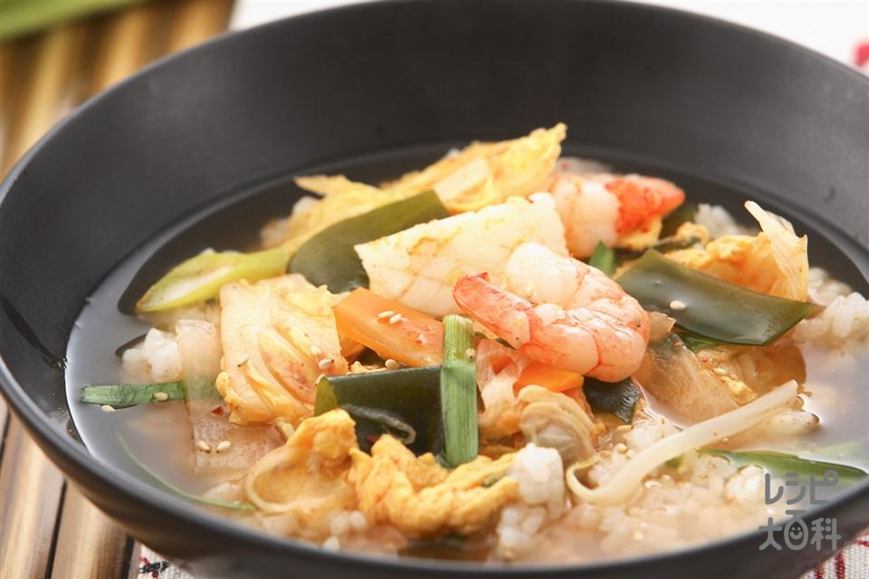 海鮮クッパ(シーフードミックス+ご飯を使ったレシピ)