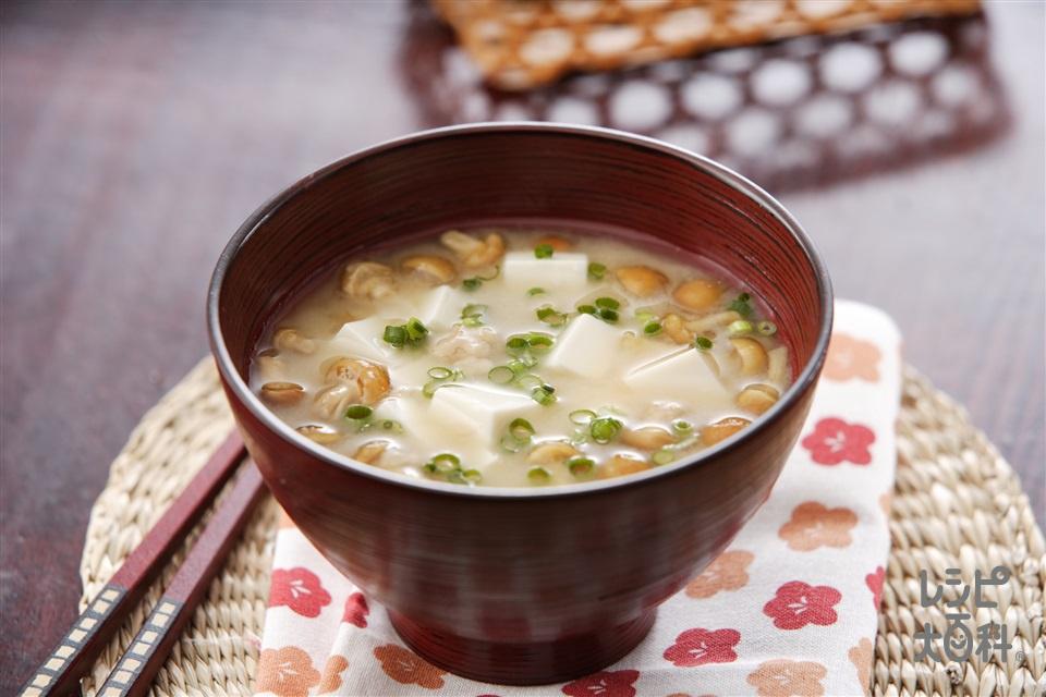 なめこ入り納豆汁(絹ごし豆腐+なめこ水煮を使ったレシピ)