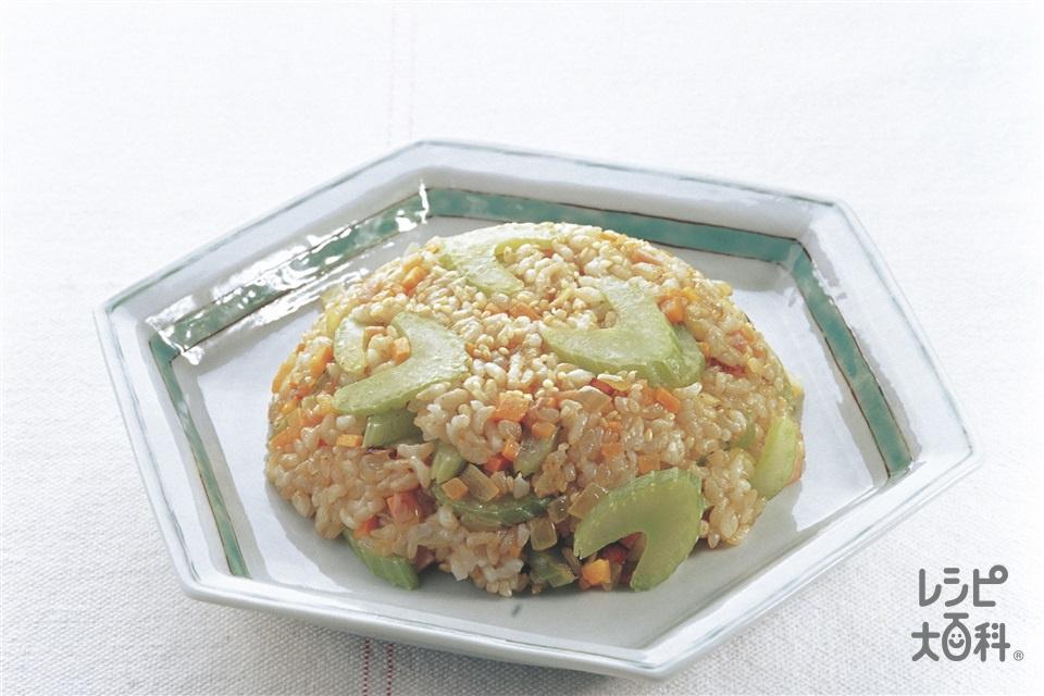 セロリいっぱいチャーハン(玄米ご飯+セロリを使ったレシピ)
