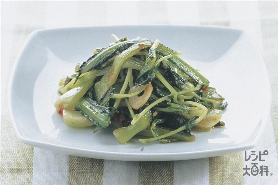 シンプル青菜三種炒め(チンゲン菜+豆苗を使ったレシピ)