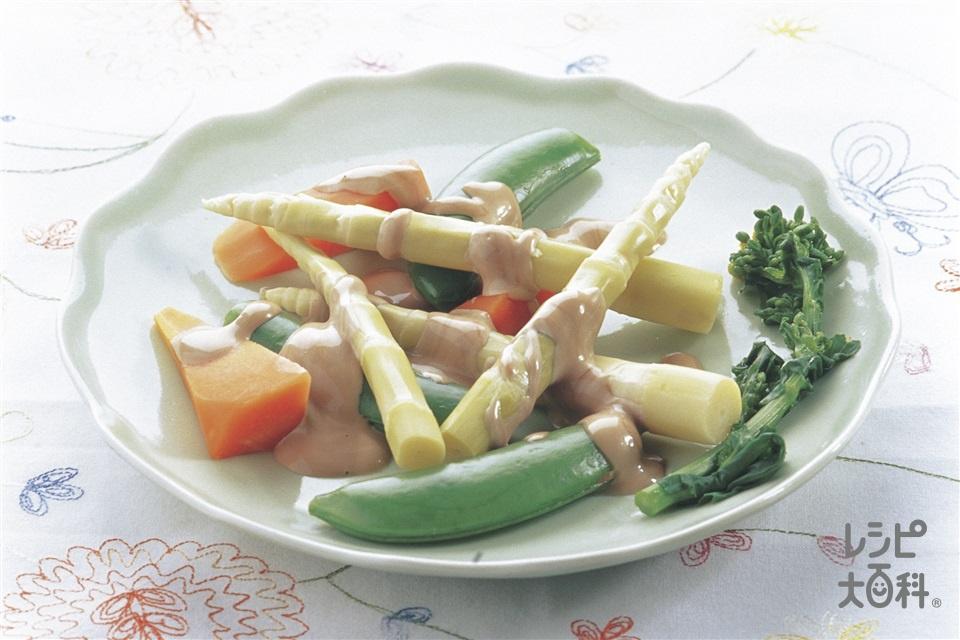 ゆでたけのこと春野菜のサラダ(ゆで姫たけのこ+スナップえんどうを使ったレシピ)