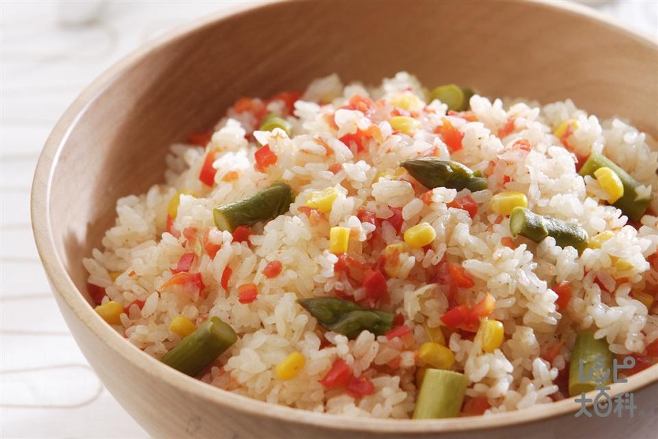 野菜たっぷりピラフ(米+トマトを使ったレシピ)