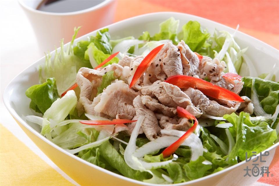 うま味アップ!豚しゃぶサラダ(豚しゃぶしゃぶ用肉+グリーンリーフを使ったレシピ)