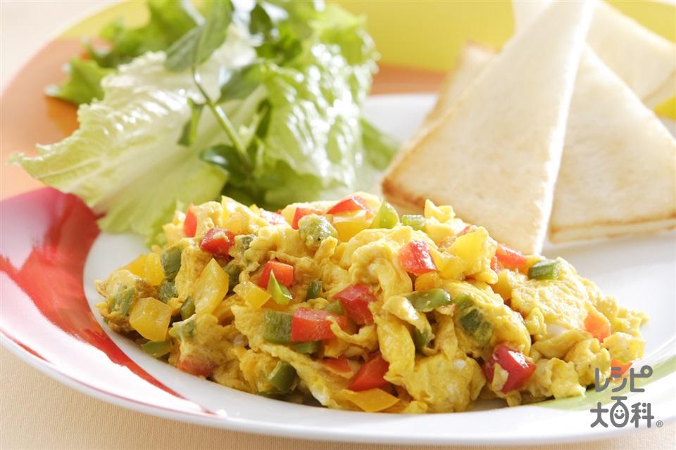 カラフルスクランブルエッグ(卵+食パンを使ったレシピ)