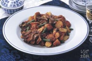きのこと鶏肉のオイスター炒め カレー風味