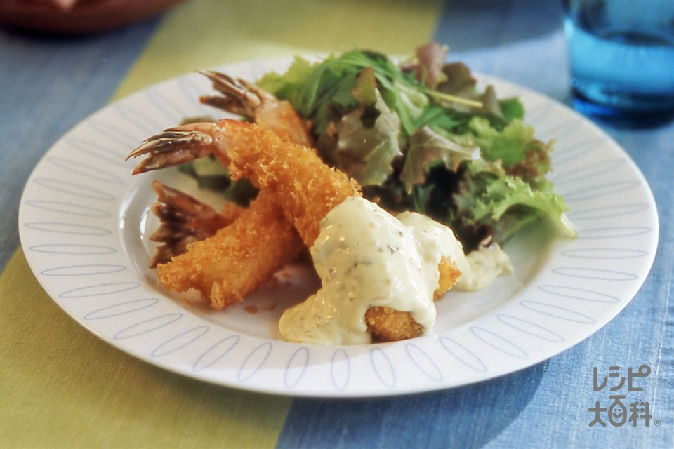 えびフライ(えび+サラダ用ミックスハーブを使ったレシピ)