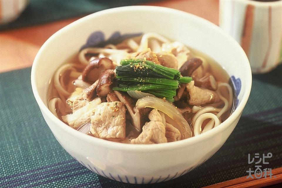 肉うどん(ゆでうどん+豚もも薄切り肉を使ったレシピ)