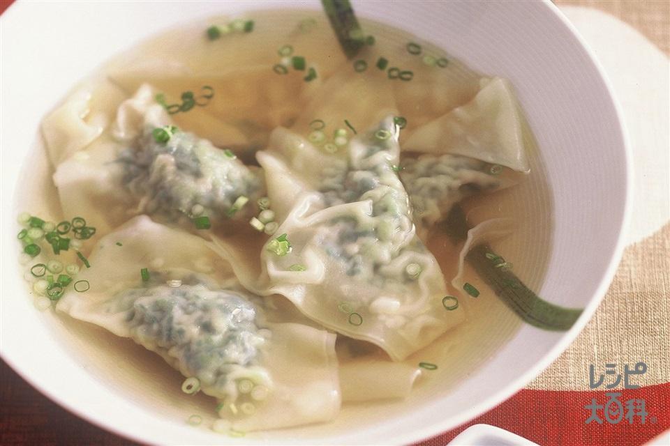 チンゲン菜のワンタンスープ(チンゲン菜+豚ひき肉を使ったレシピ)