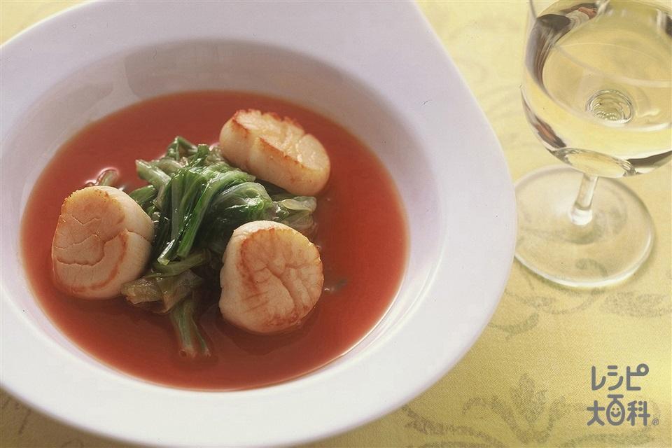 キャベツと帆立貝のトマト煮(キャベツ+帆立貝柱を使ったレシピ)