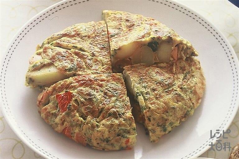 ソーセージと野菜のオープンオムレツ