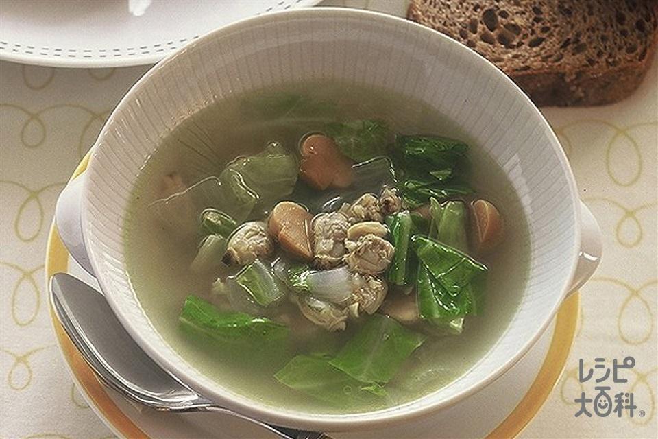 あさりの水煮とキャベツのコンソメスープ