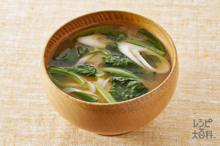 小松菜とねぎのみそ汁