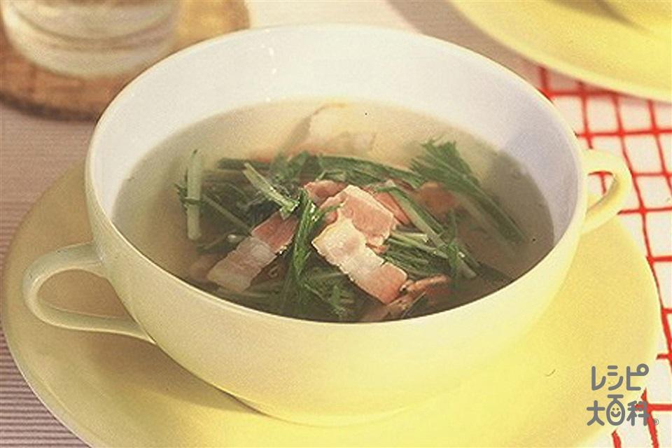 ベーコンと水菜のスープ(ベーコン+水菜を使ったレシピ)