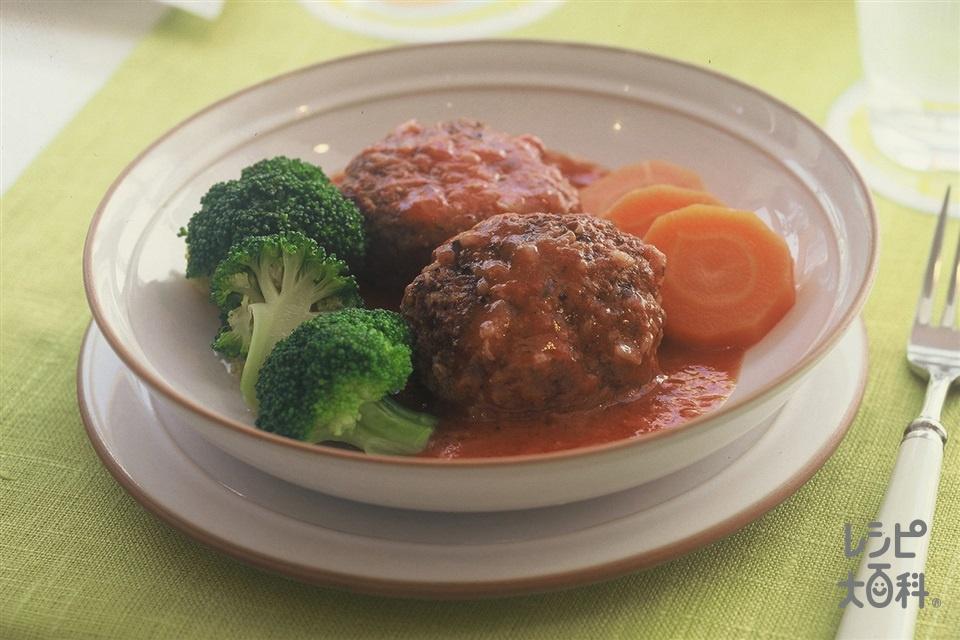 トマト煮込みハンバーグ(合いびき肉+玉ねぎ(小)を使ったレシピ)