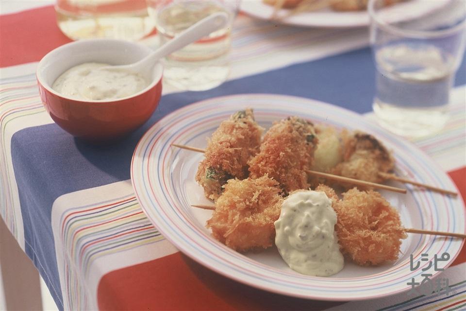 えびと野菜の串フライ(えび+ベーコンを使ったレシピ)