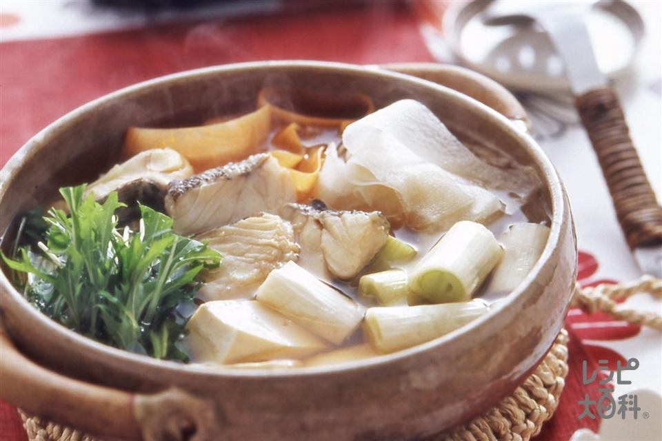 たらと野菜の寄せ鍋(木綿豆腐+大根を使ったレシピ)
