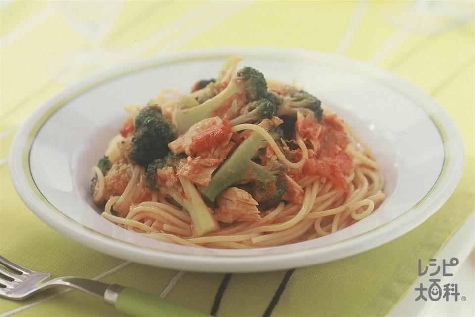ツナとブロッコリーのトマトスパゲッティ(スパゲッティ+ホールトマト缶を使ったレシピ)