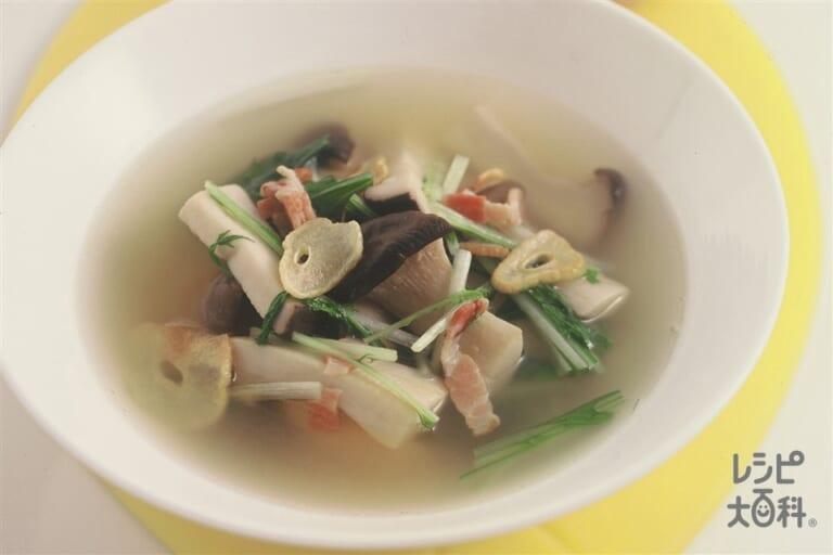 エリンギと水菜のスープ