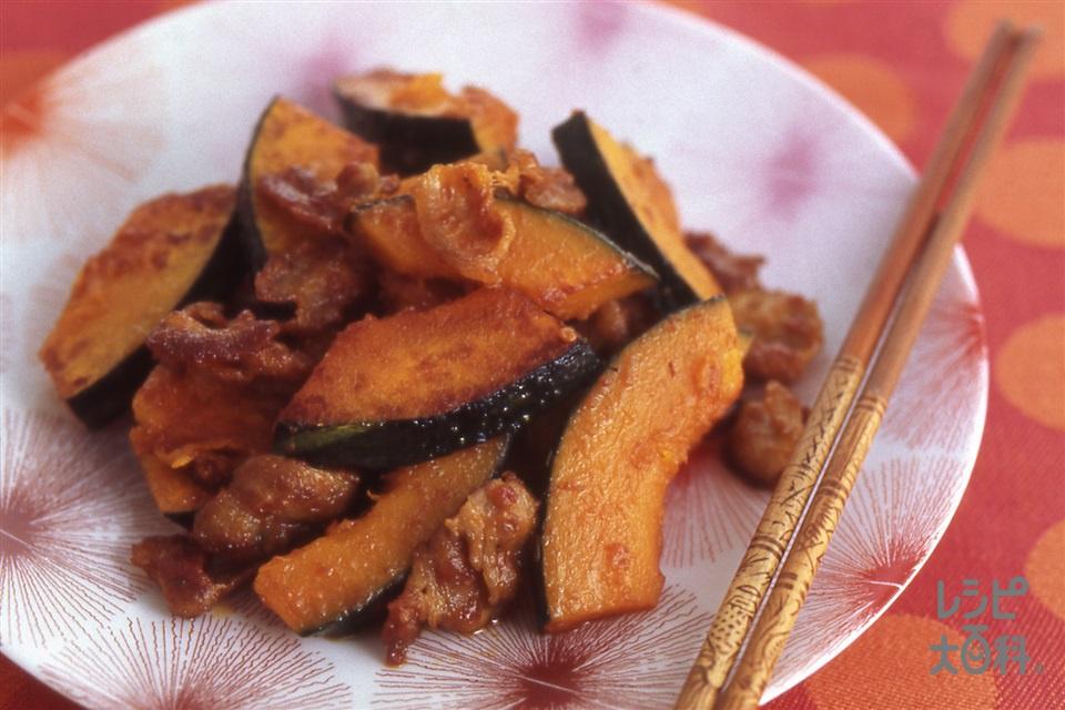 かぼちゃと豚肉の炒めもの(かぼちゃ+豚バラ肉を使ったレシピ)