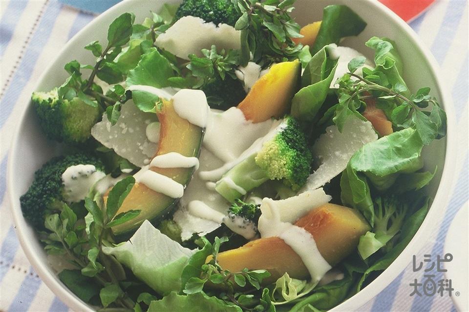 彩どり野菜のシーザーサラダ風(かぼちゃ+レタスを使ったレシピ)