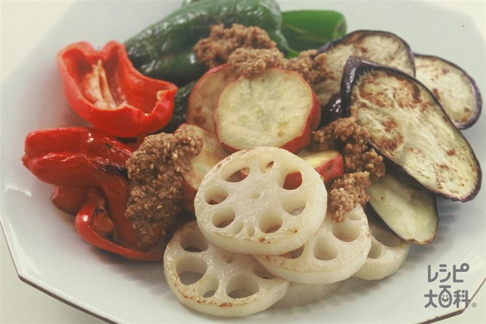 焼き野菜のごまダレかけ(れんこん+なすを使ったレシピ)