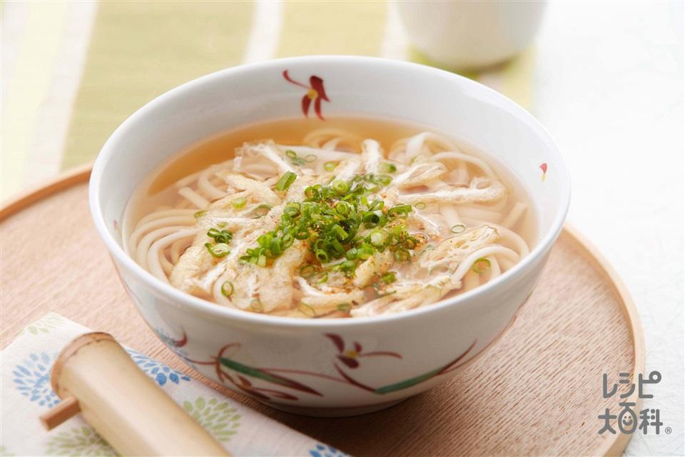 きざみうどん(ゆでうどん+油揚げを使ったレシピ)