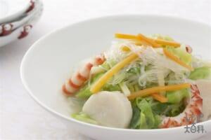 素菜煮粉絲(キャベツと春雨の炒め煮込み)(キャベツ+シーフードミックスを使ったレシピ)