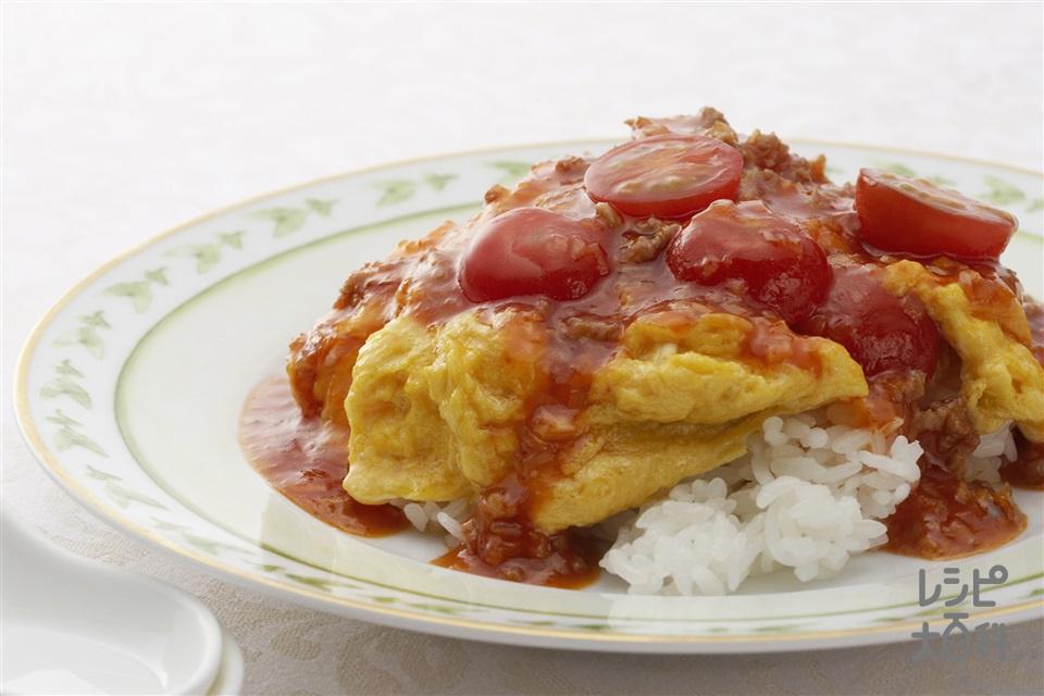 乾焼炒蛋飯(ふわふわ卵のチリソースご飯)(卵+「瀬戸のほんじお」を使ったレシピ)
