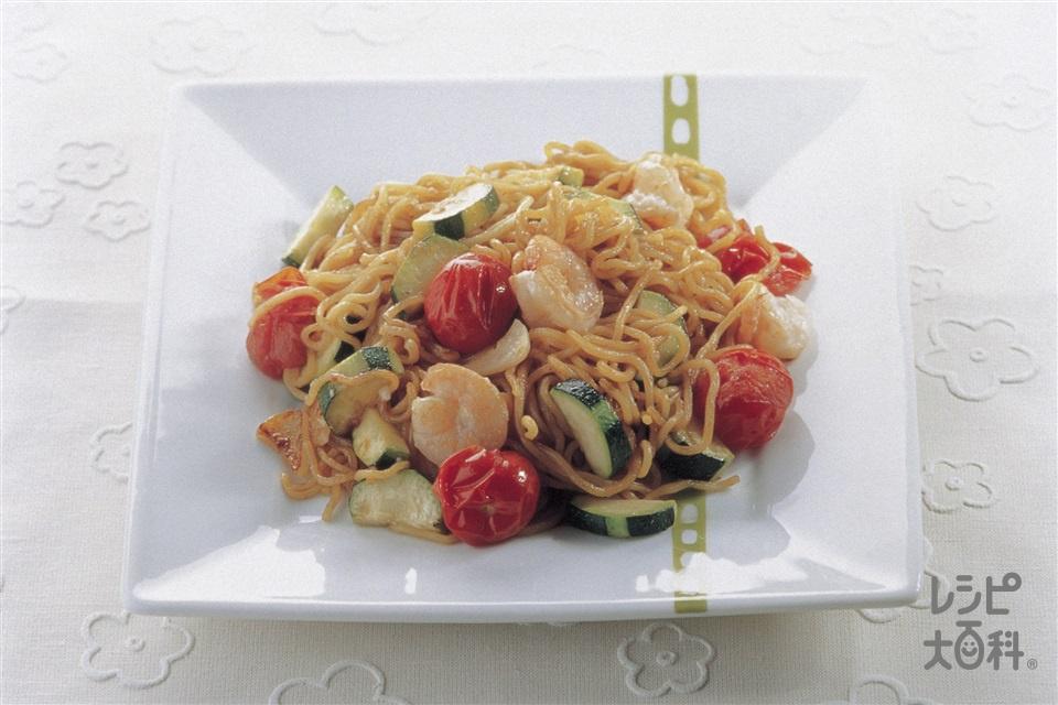 トマト焼きそば(中華蒸しめん+ミニトマトを使ったレシピ)
