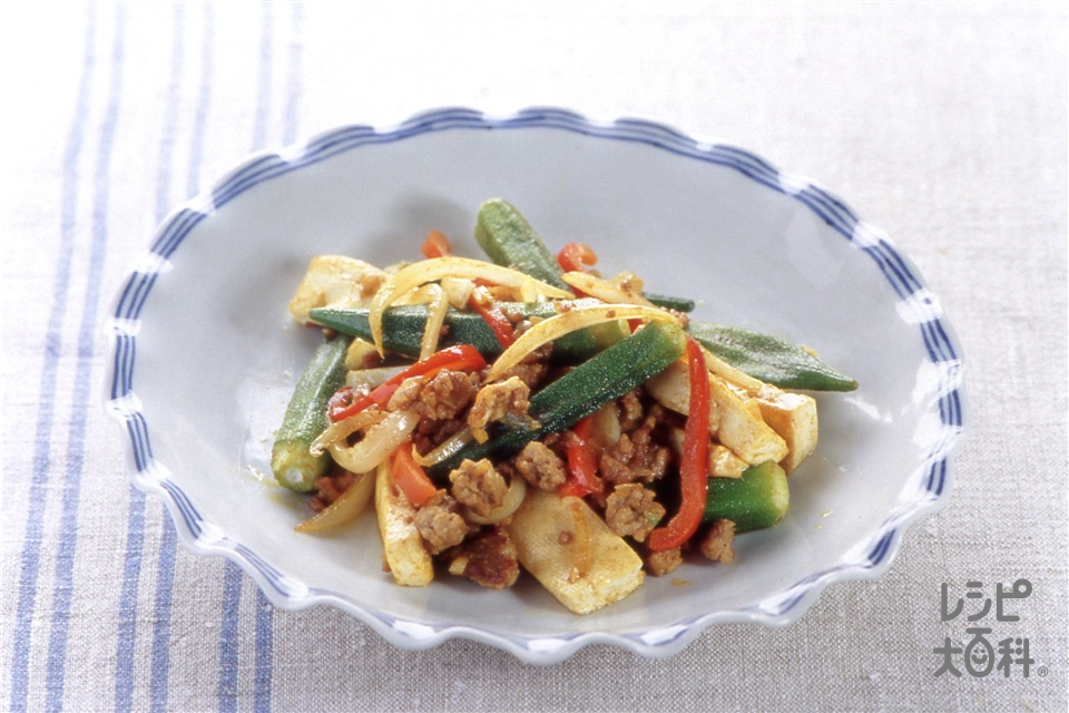 オクラと豆腐のカレー炒め(木綿豆腐+鶏ひき肉を使ったレシピ)