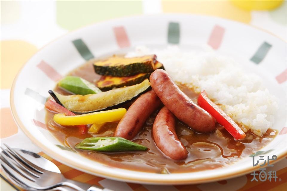 ウインナーと夏野菜のカラフルカレー(ウインナーソーセージ+ご飯を使ったレシピ)