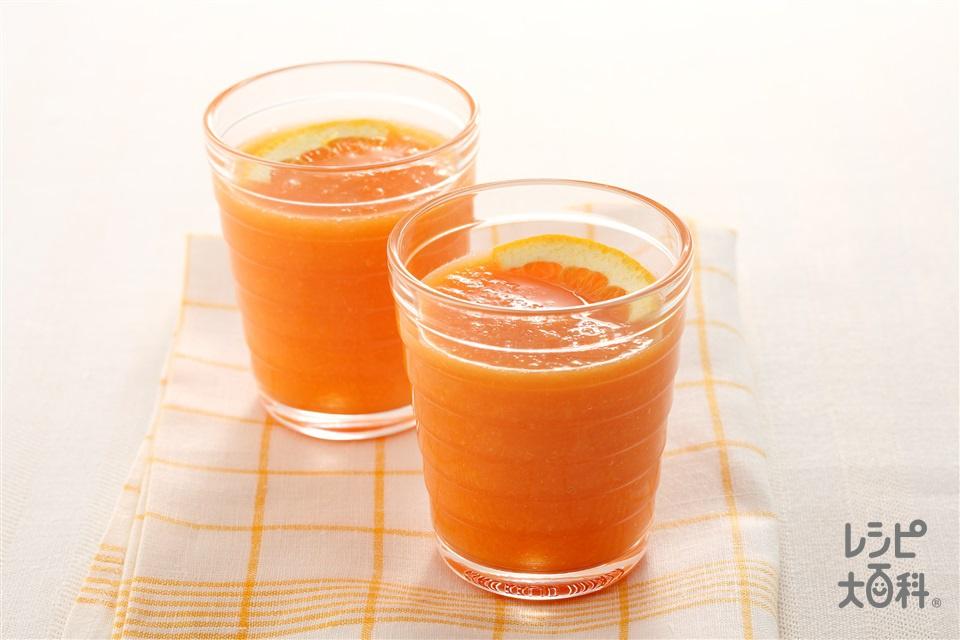 にんじん、オレンジ、あんずのハニージュース