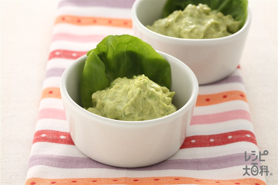 アボカドペースト(アボカド+サラダ菜を使ったレシピ)