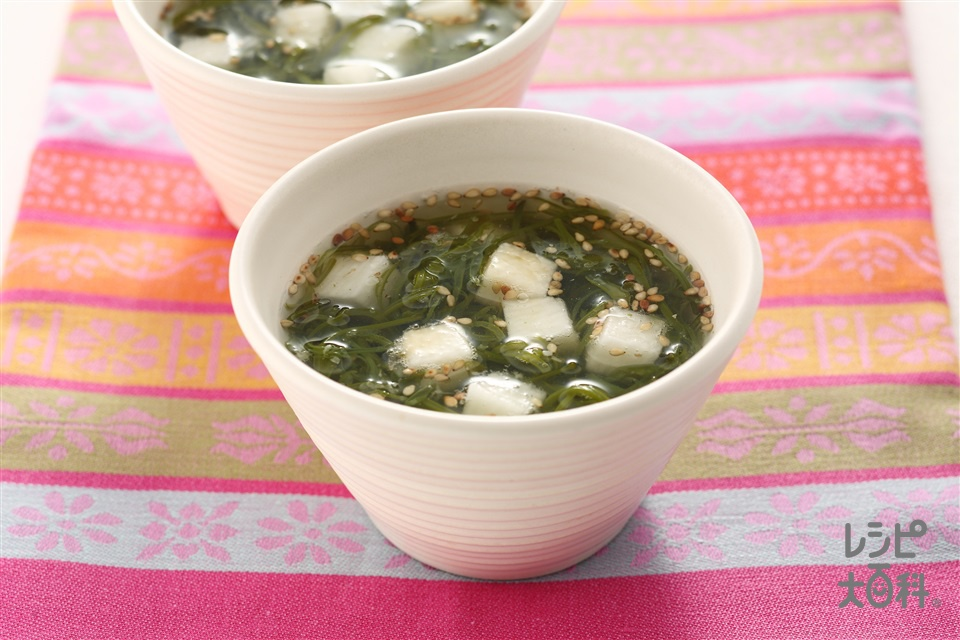 めかぶと長いもの即席スープ(めかぶ+長いもを使ったレシピ)